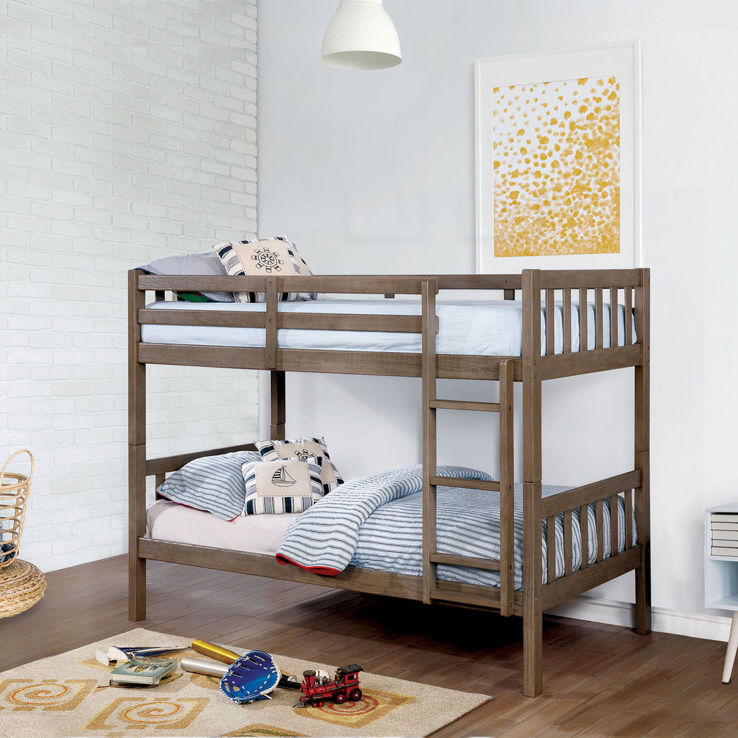 Emilie Wire-Brushed Warm Gray Twin/Twin Bunk Bed