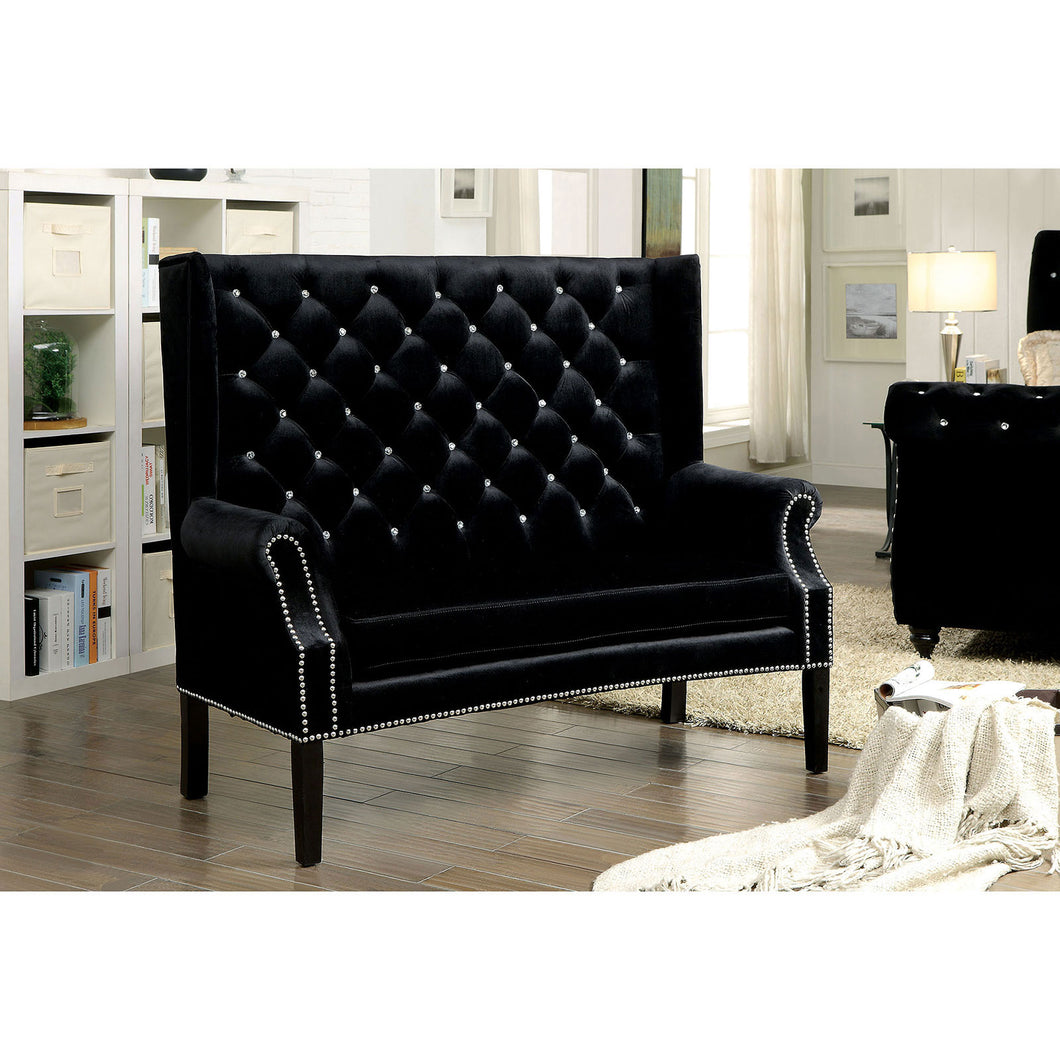 SHAYLA Black Love Seat Bench