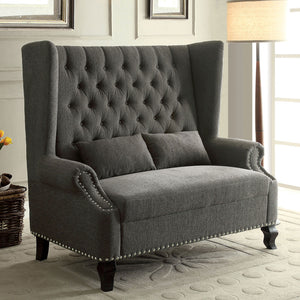 ALCACER Gray Love Seat Bench
