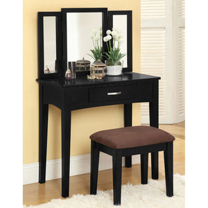 Potterville Black Vanity Table w/ Stool