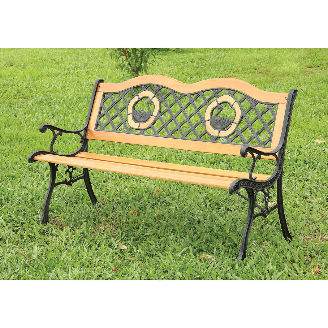 HAVASU Oak/Black Patio Wooden Bench