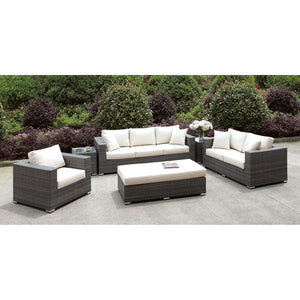 Somani Light Gray Wicker/Ivory Cushion 3 Pc Set + Bench + 2 End Tables