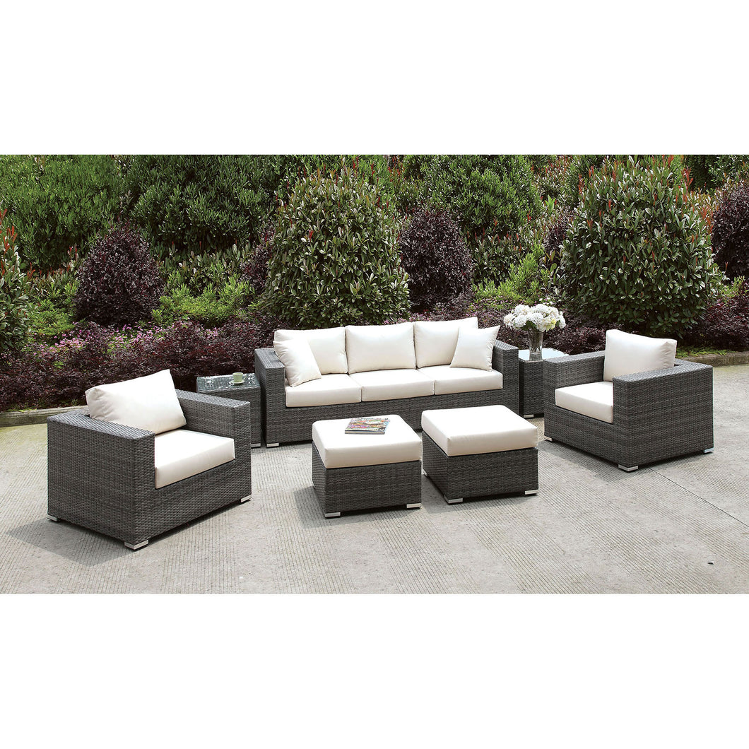 Somani Light Gray Wicker/Ivory Cushion Sofa+2 Chairs+2 End Tables+2 Small Ottomans