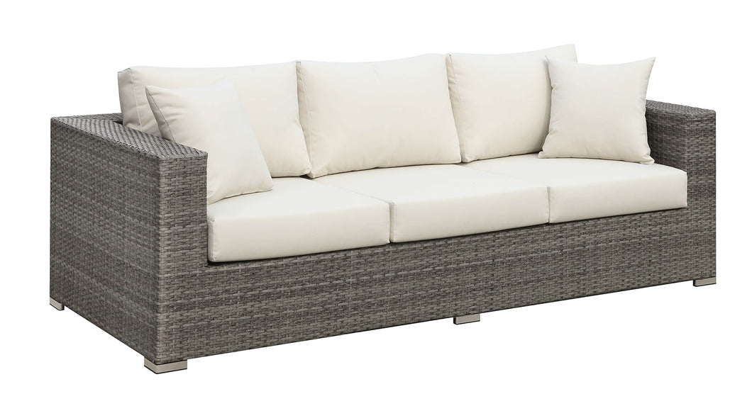SOMANI Light Gray Wicker/Ivory Cushion Sofa w/ 2 Pillows