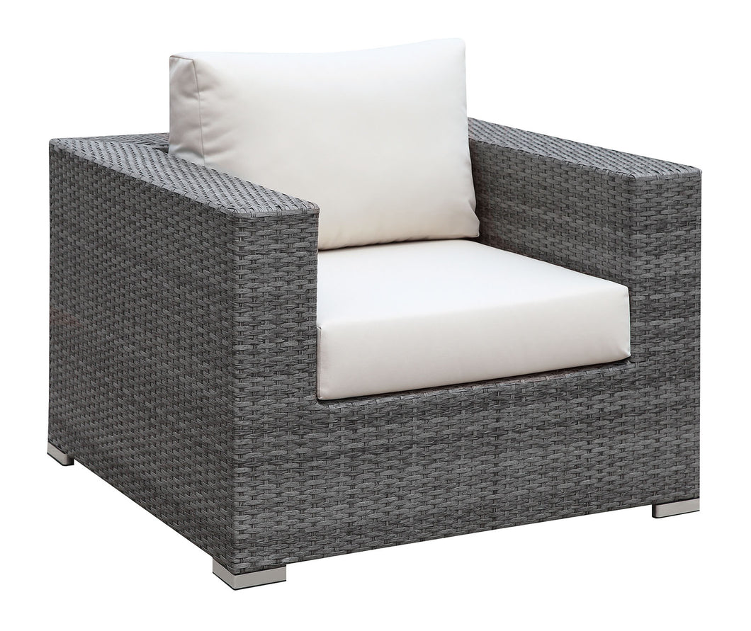 SOMANI Light Gray Wicker/Ivory Cushion Arm Chair