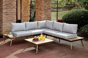 EVITA Gray, Oak Patio Sectional w/ Corner Chair & Coffee Table