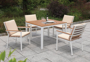 Aisha White/Oak Patio Table + 4 Chairs