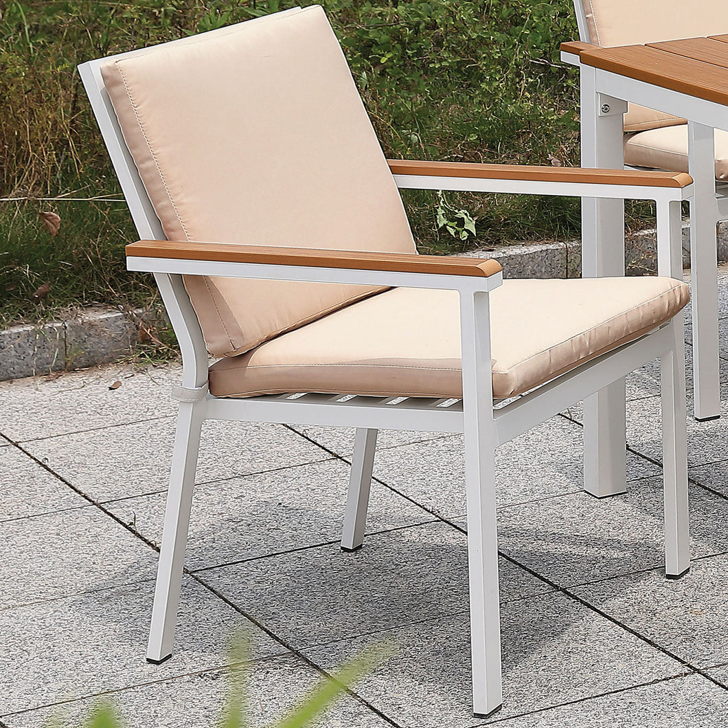 Aisha White/Oak Arm Chair (2/CTN)
