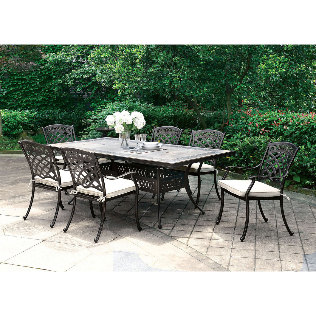 Charissa Antique Black Patio Dining Table