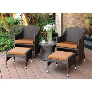 ALMADA Espresso Wicker/ Brown Cushions 3 Pc. Patio Chair Set