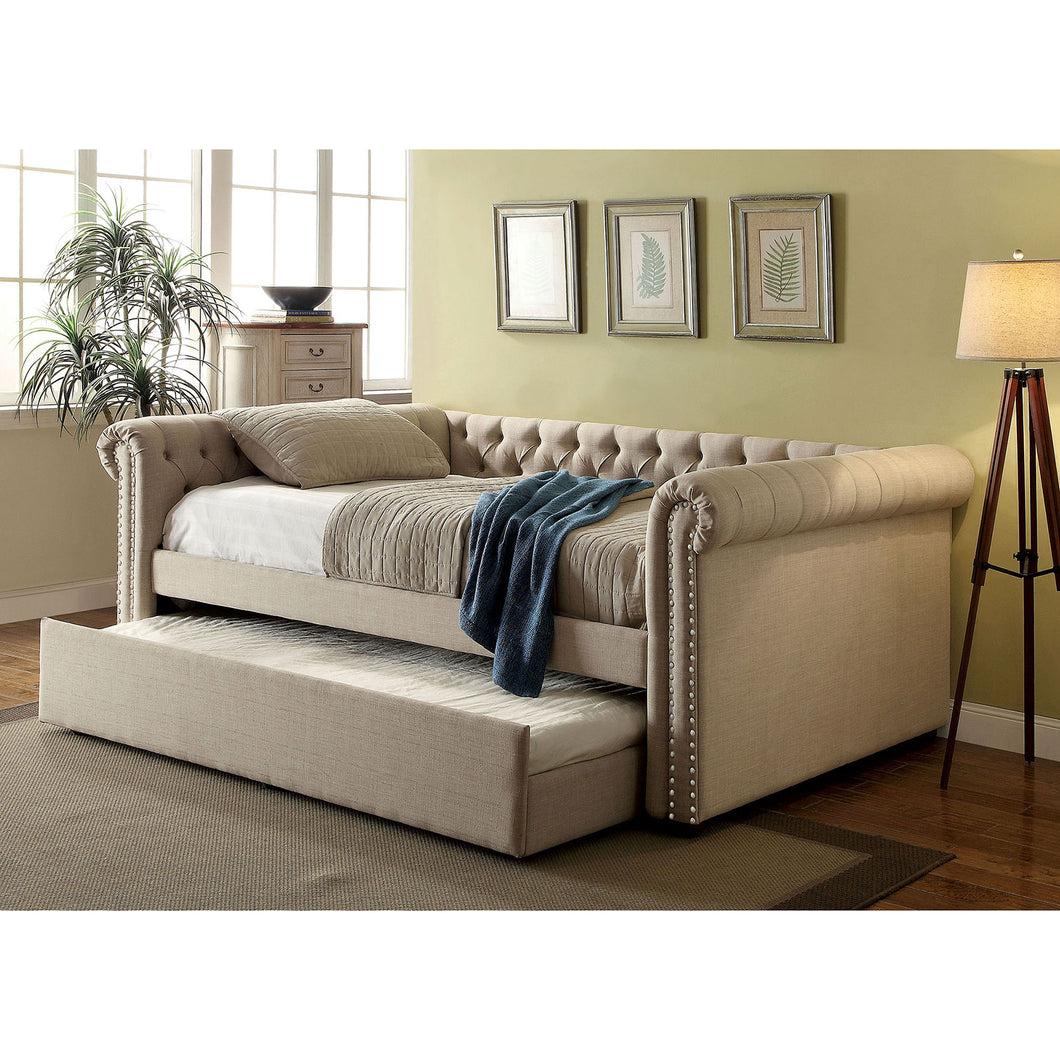 LEANNA Beige/Brown Full Daybed w/ Trundle, Beige