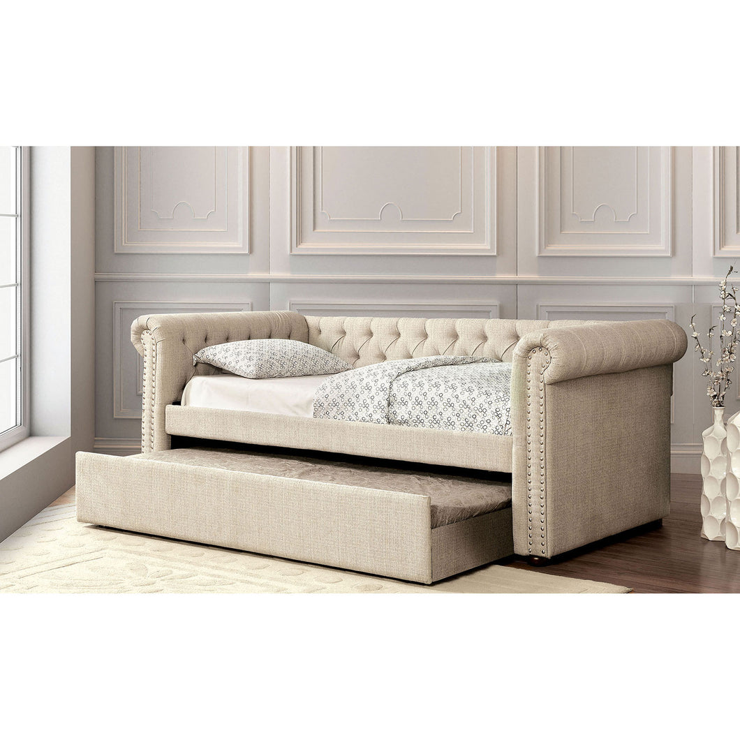 Leanna Beige/Brown Queen Daybed w/ Trundle, Beige