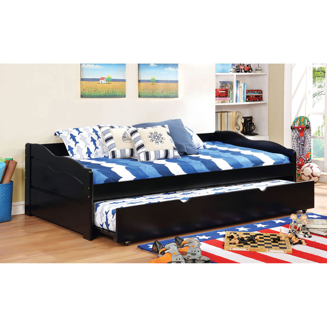 SUNSET Black Daybed w/ Trundle, Black