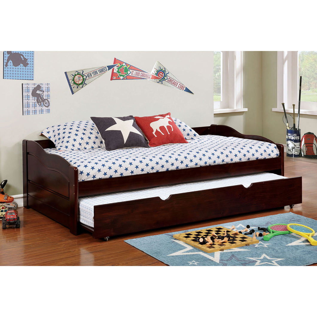 SUNSET Dark Walnut Daybed w/ Trundle, Espresso