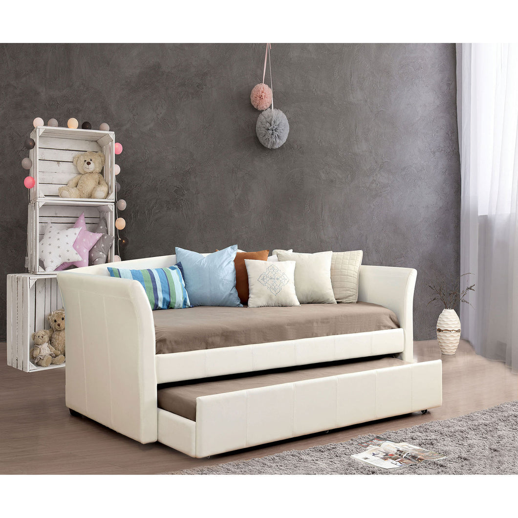 DELMAR White/Espresso Daybed w/ Trundle, White