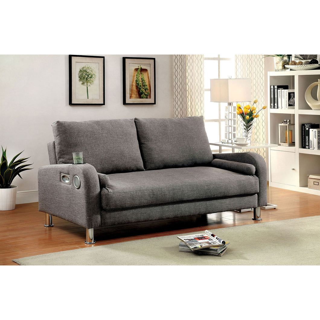 RAQUEL Gray/Chrome Futon Sofa