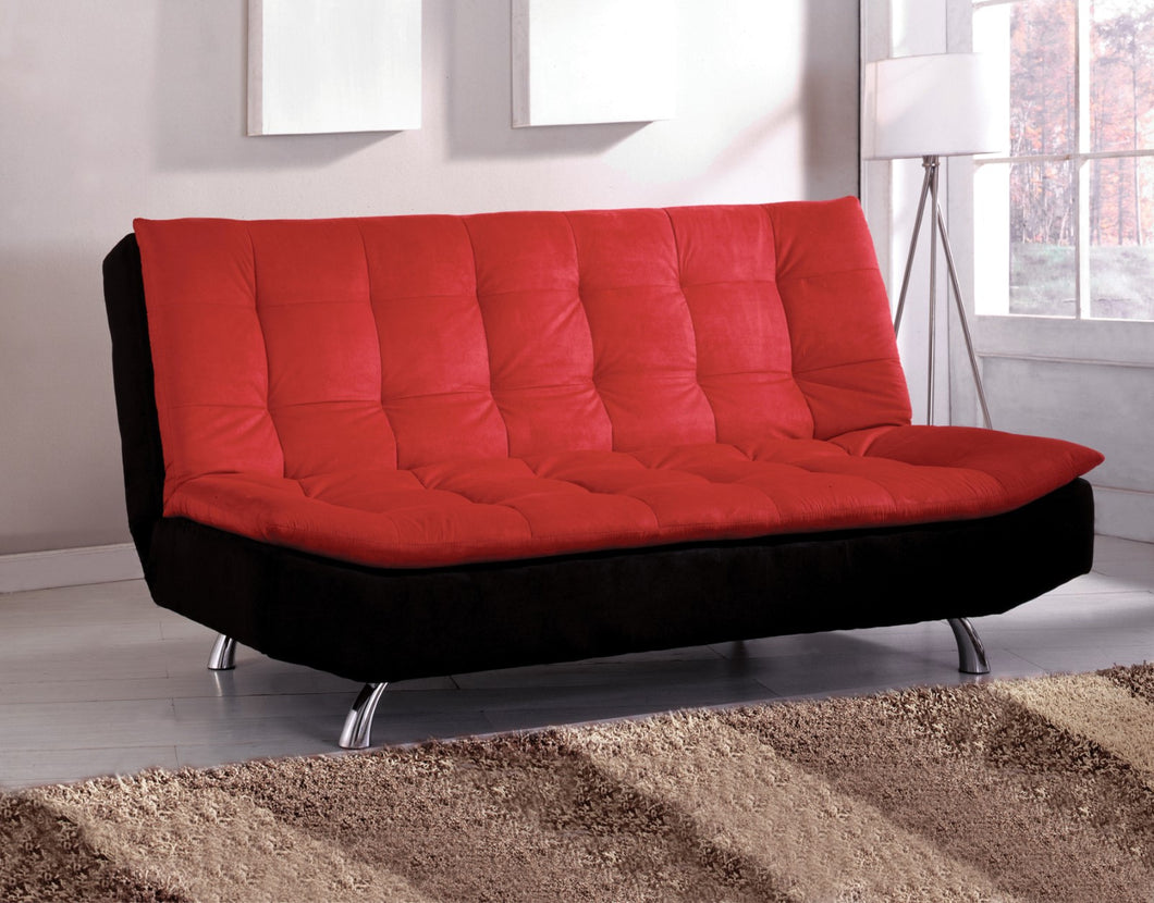 Malibu Red/Black/Chrome Microfiber Futon Sofa, Red & Black