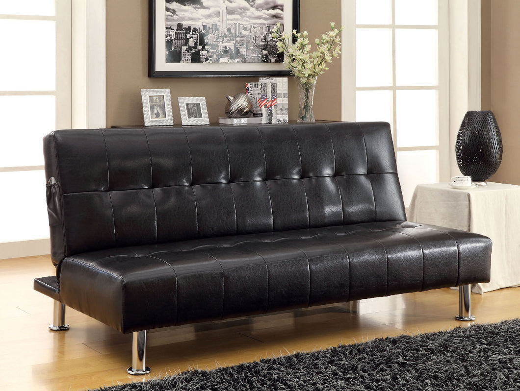 Bulle Black/Chrome Leatherette Futon Sofa, Black