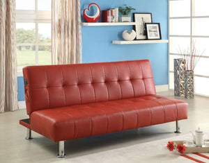 Bulle Red/Chrome Leatherette Futon Sofa, Red