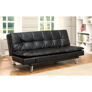 HAUSER II Black/Chrome Futon Sofa, Black