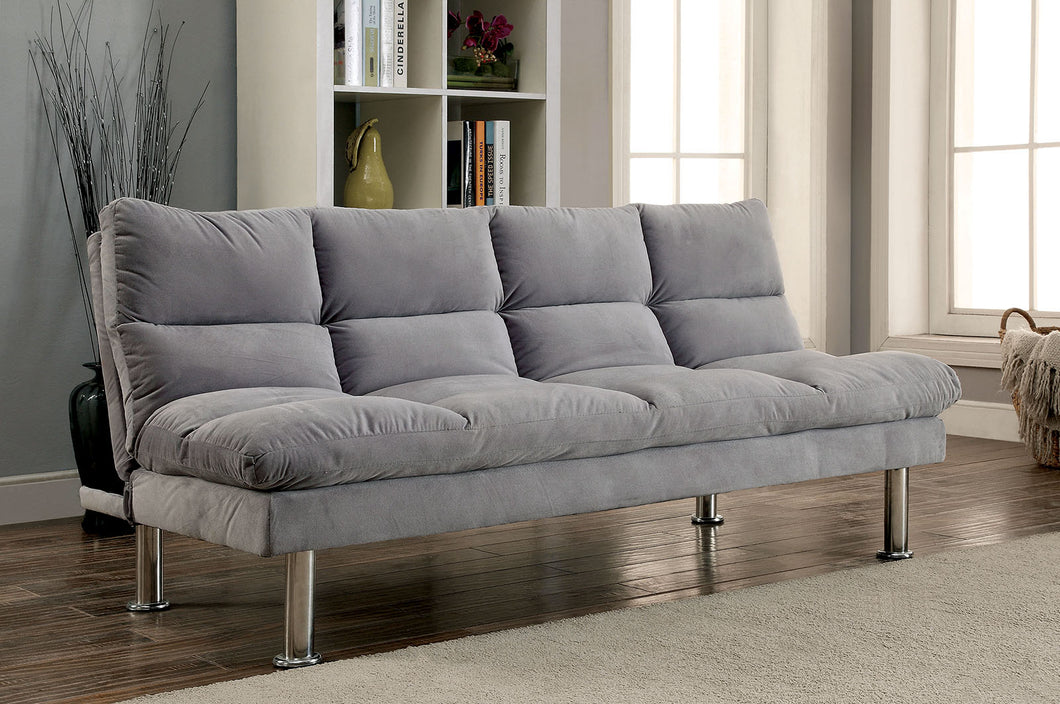 SARATOGA Gray/Chrome Futon Sofa, Gray