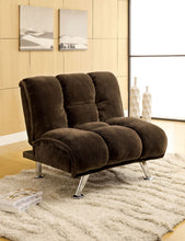Load image into Gallery viewer, Marbelle Dark Brown/Chrome Champion Fabric Futon Sofa, Dark Brown