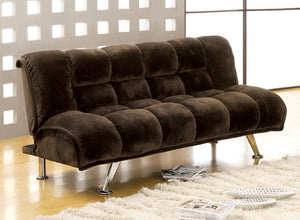 Marbelle Dark Brown/Chrome Champion Fabric Futon Sofa, Dark Brown