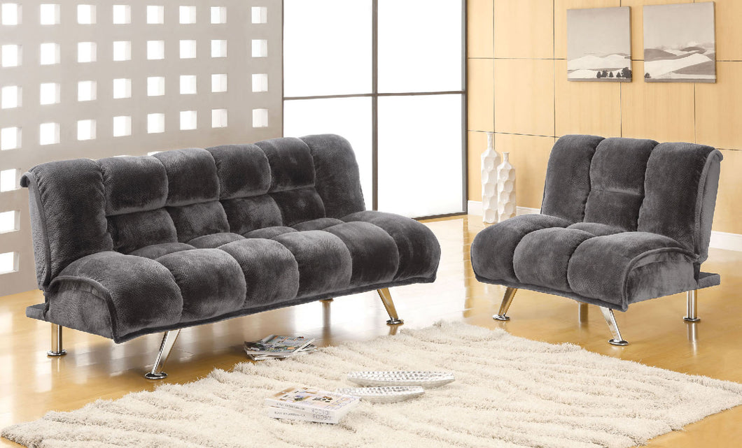 Marbelle Gray Futon Sofa + Chairs