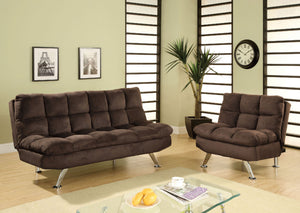 Cocoa Beach Brown Futon Sofa + Chairs
