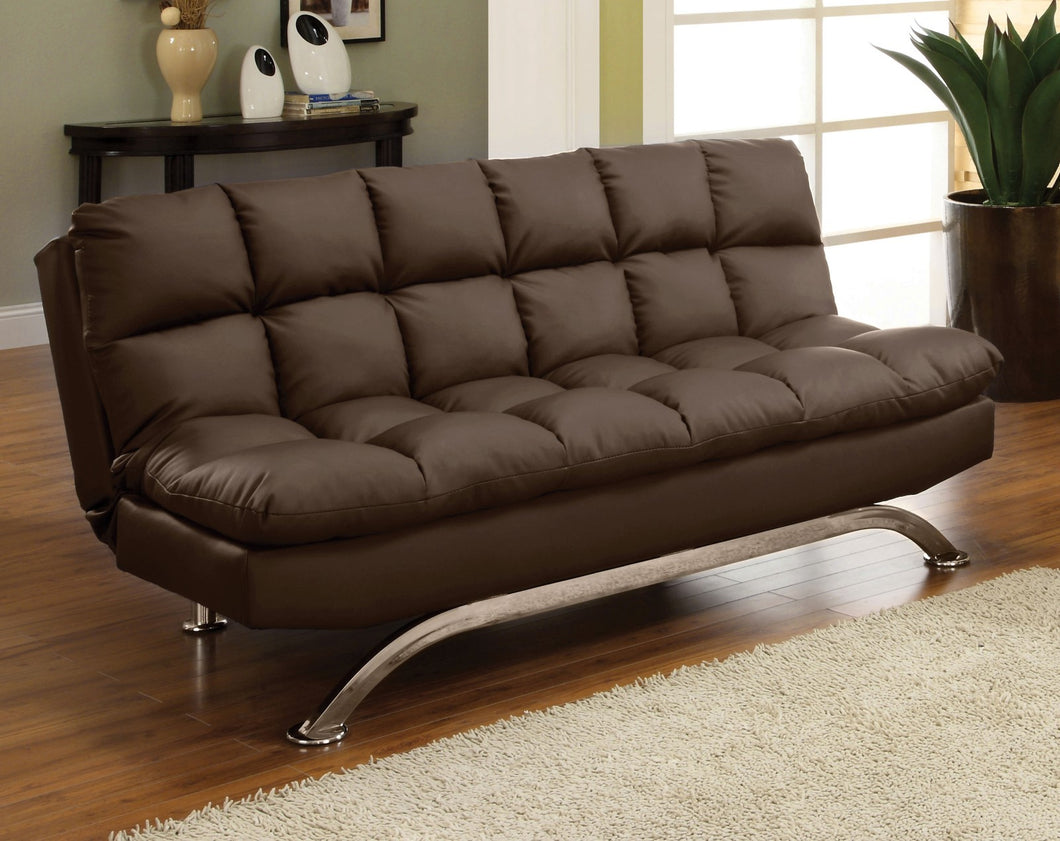 Aristo Dark Brown/Chrome Futon Sofa