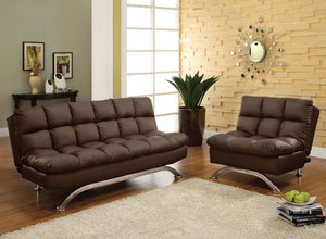 Aristo Dark Brown Futon Sofa + Chairs