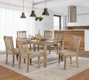 Kiara Wire-Brushed Natural Tone 7 Pc. Dining Table Set