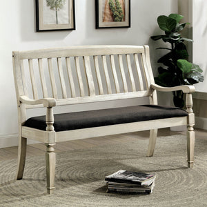 Georgia Antique White/Gray Love Seat Bench