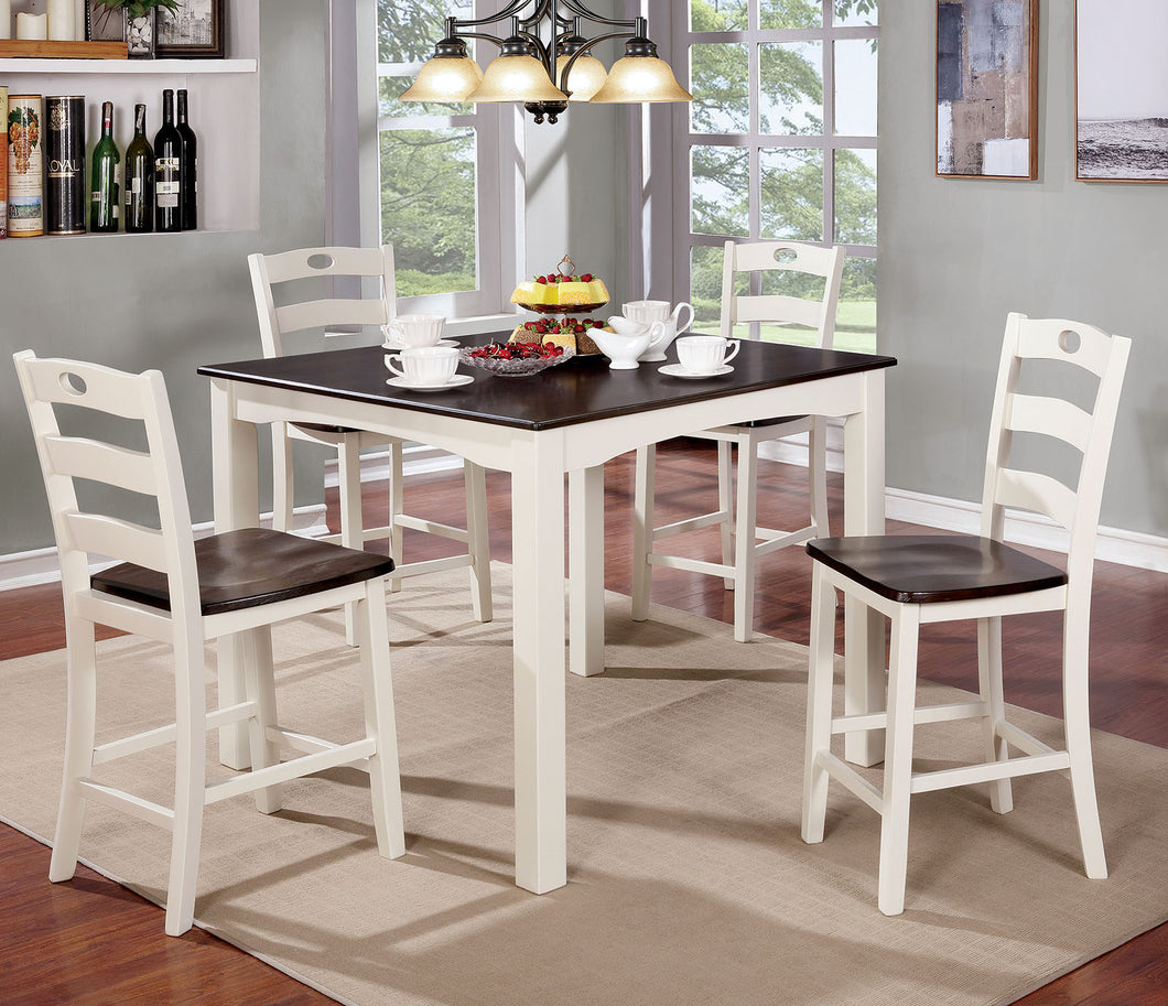 Liliana White/Walnut 5 Pc. Counter Ht. Table Set