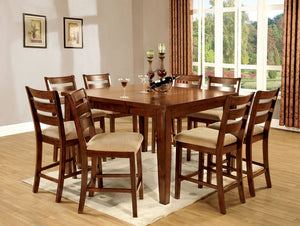 Priscilla II Antique Oak Counter Ht. 9 Pc. Dining Table Set