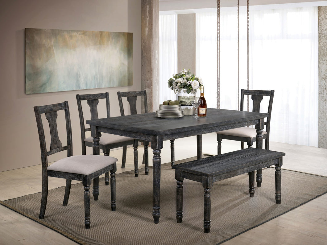 Muriel Weathered Gray 6 Pc. Dining Table Set w/ Bench
