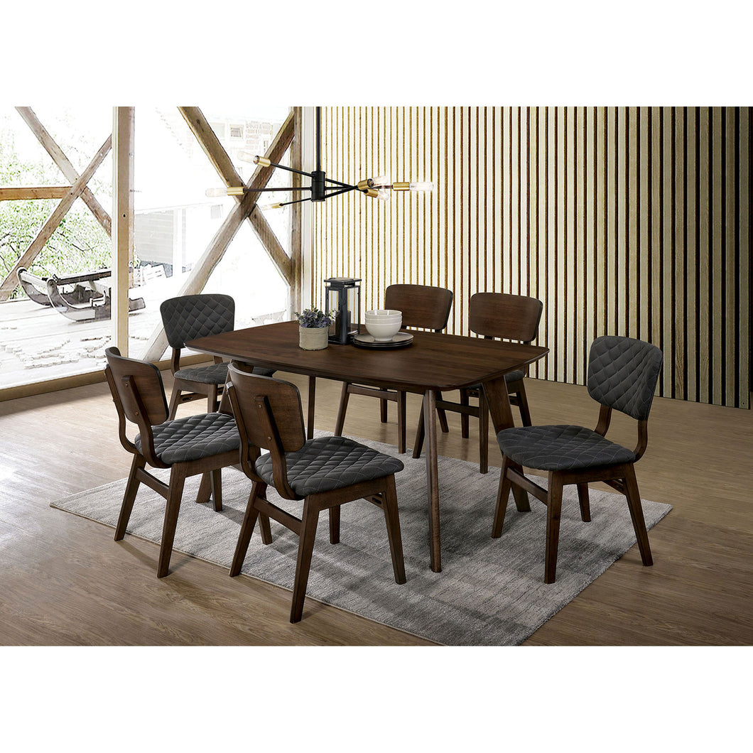 Shayna Black/Light Oak Table + 6 Chairs