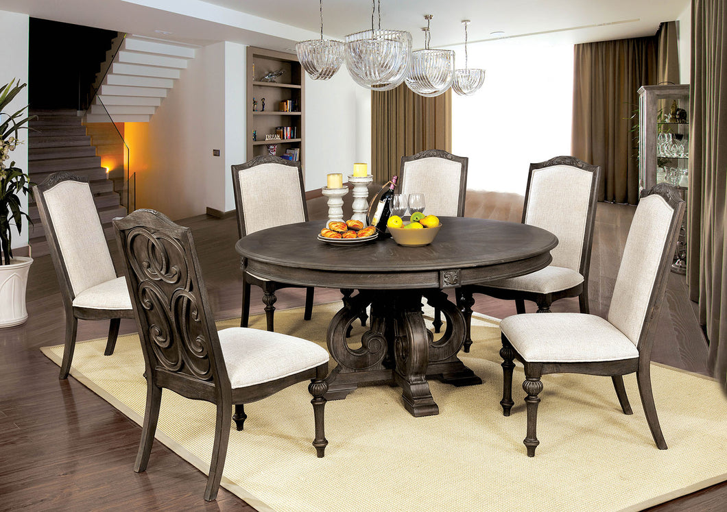 Arcadia Rustic Natural Tone, Ivory 7 Pc. Round Dining Table Set