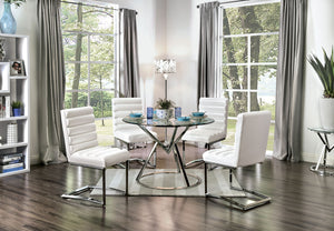 LIVADA I Chrome 5 Pc.Round Dining Table Set