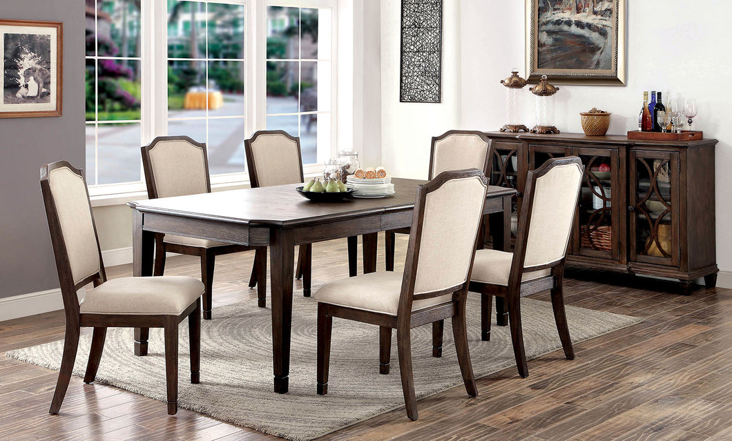 HAYLEE Wire-Brushed Brown/Beige 7 Pc. Dining Table Set