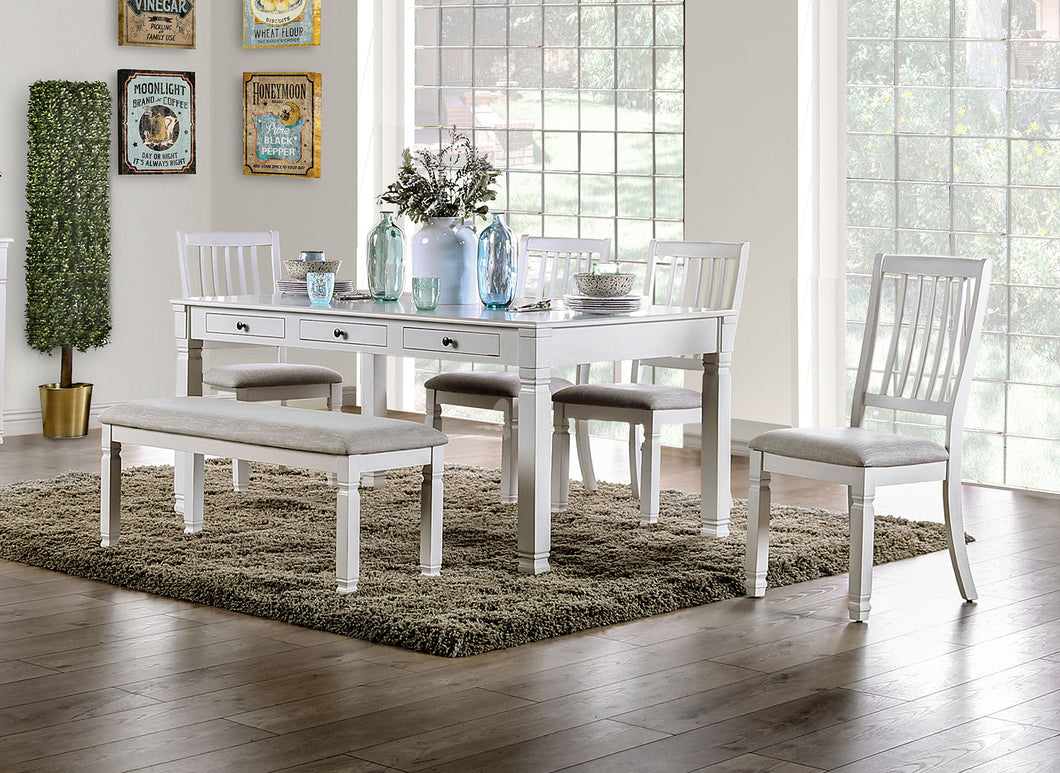 Kaliyah Vintage White Dining Table