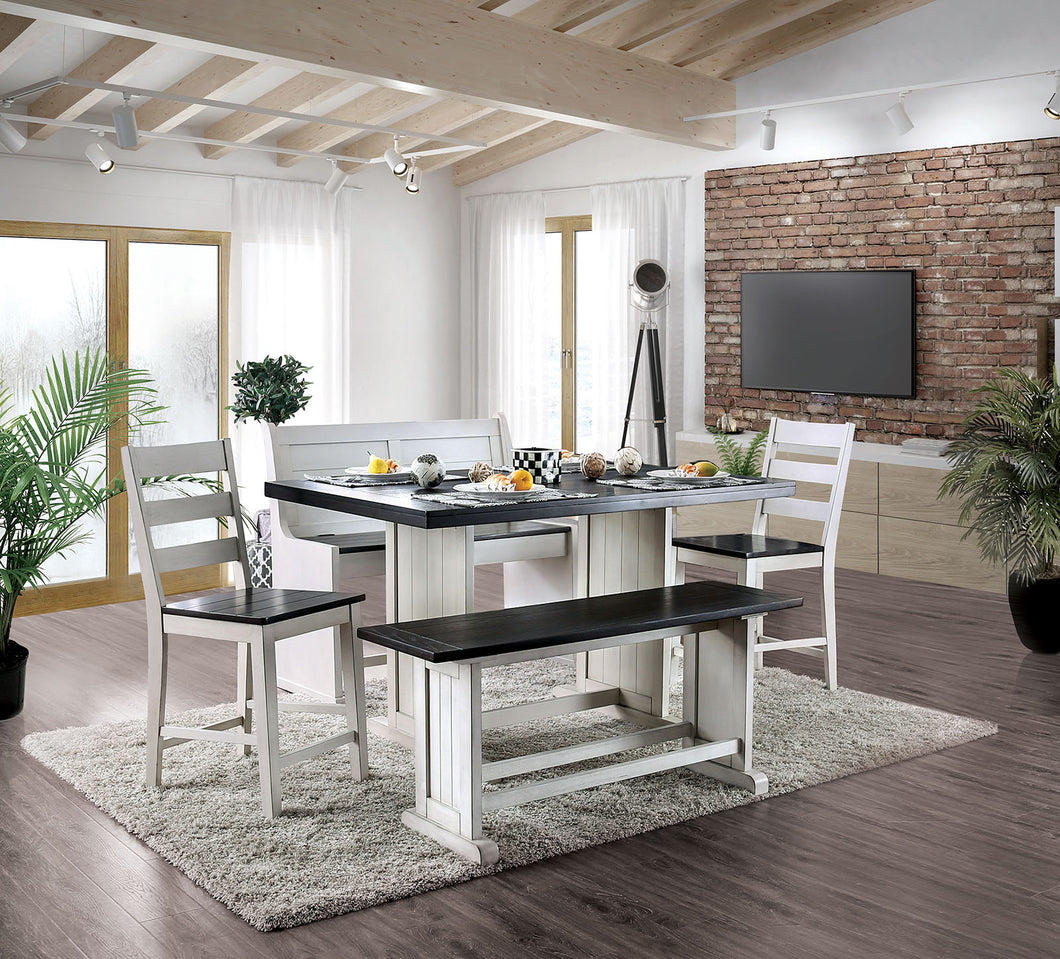 Nekoma Espresso/White 5 Pc. Counter Ht. Dining Table Set (2CH+BN+LV)