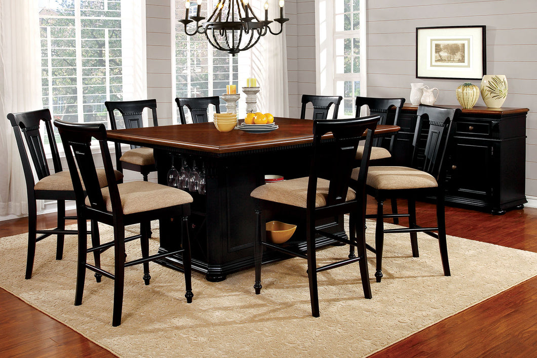 SABRINA Black/Cherry 9 Pc. Dining Table Set w/ Stools