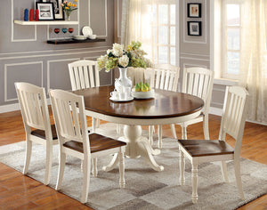 HARRISBURG Vintage White/Dark Oak 9 Pc. Oval Dining Table Set