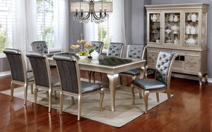 AMINA Champagne 9 Pc. Dining Table Set
