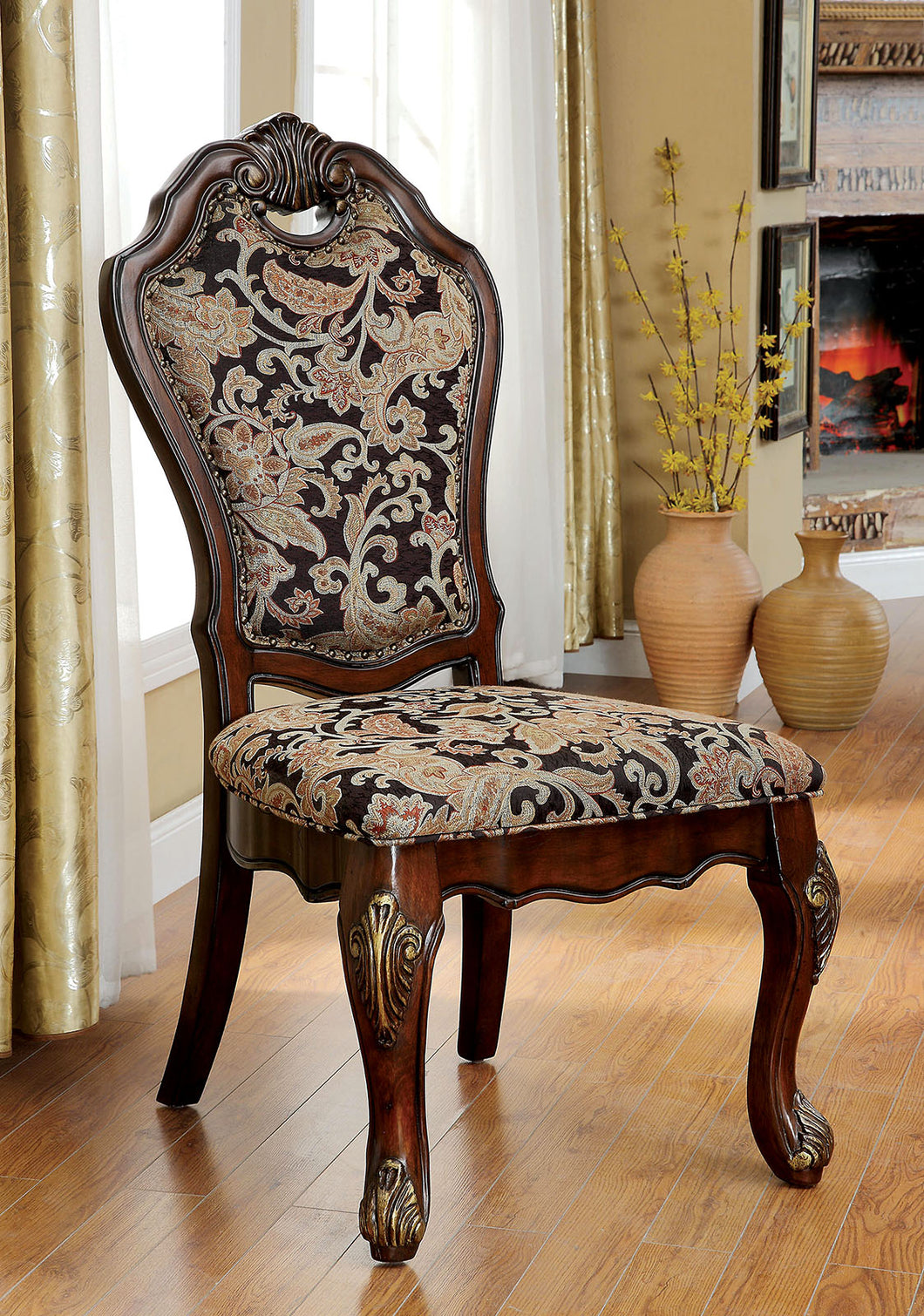 VICENTE Cherry/Pattern Side Chair (2/CTN)