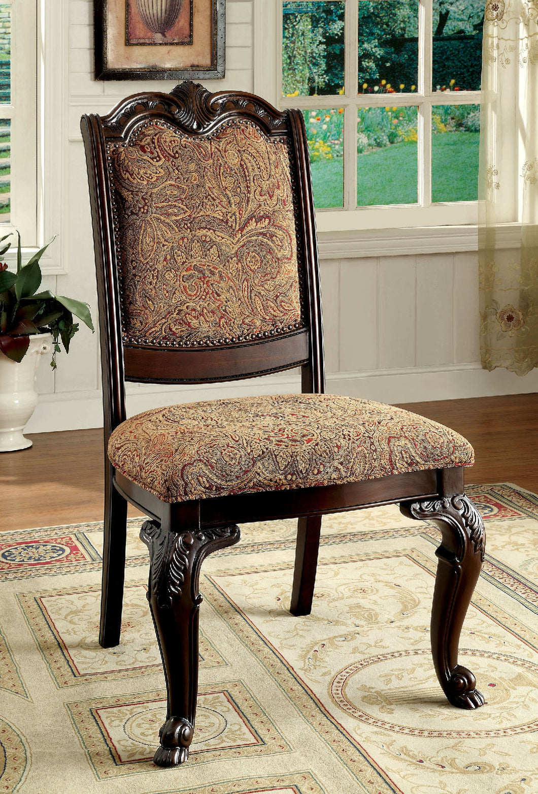 BELLAGIO Brown Cherry/Pattern Fabric Side Chair (2/CTN)