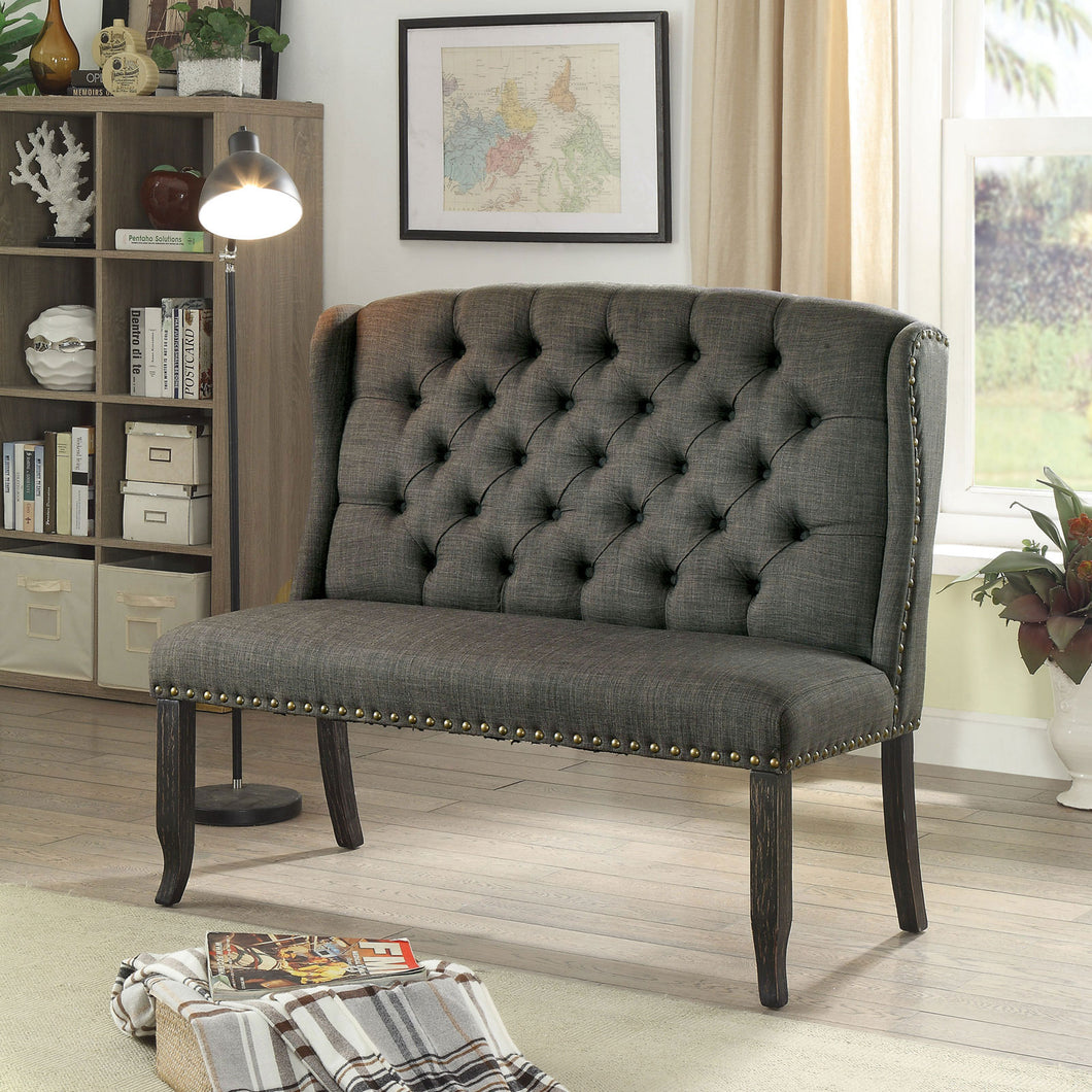 Sania III Gray 2-Seater Love Seat Bench