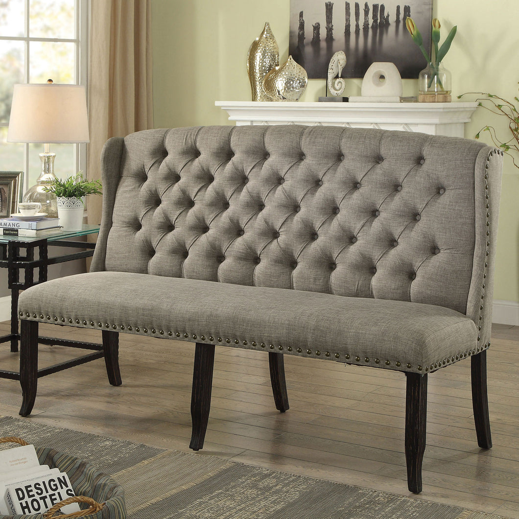 Sania III Light Gray 3-Seater Love Seat Bench