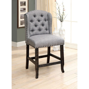 SANIA Antique Black Counter Ht. Wingback Chair (2/CTN)
